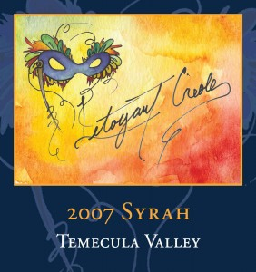 A beautiful label from the 2007 Letoyant Creole 2007 Syrah from Tesoro Winery