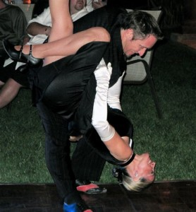 The happy couple enjoys the Tango at Masia de Yabar in Temecula Wine Country
